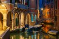 Night Lateral Canal And Bridge In Venice, Italy Royalty Free Stock Photography - 54857527