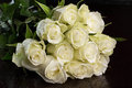 Bouquet Of White Roses Stock Photos - 54858413