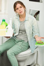 Beautiful Girl Cleaning Up Her House Stock Photography - 54859762
