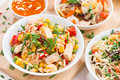 Asian Lunch - Fried Rice With Tofu, Noodles With Vegetables Stock Photo - 54873520