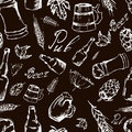 Beer Seamless Pattern On Black Backgroun. Vector Texture In Hand Royalty Free Stock Image - 54874526