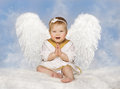 Angel Baby Wings, Angelic Cupid Toddler Kid Clasped Hands Folded Stock Photos - 54902163