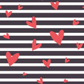 Seamless Vector Striped Pattern With Hearts. Stock Photo - 54904280