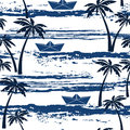 Seamless Pattern With Sea,  Palm Trees And Paper Boats. Summer B Stock Images - 54907924