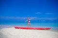 Little Adorable Girl On A Surfboard In The Stock Image - 54916201