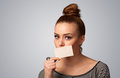 Cute Girl Holding White Card At Front Of Her Lips With Copy Spac Stock Photography - 54922642