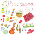 Picnic Objects For Romantic Summer Date Royalty Free Stock Photos - 54931428