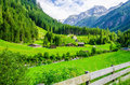 Alpine Landscape With Green Meadows, Alps, Austria Royalty Free Stock Photos - 54944818