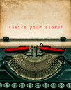 Vintage Typewriter With Textured Grungy Paper. Your Story Royalty Free Stock Photography - 54948227