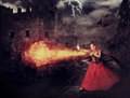 Witch In Medieval Castle Cast Magic - Fireball Stock Image - 54951951