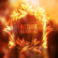 Autumn Forest With Drawing Floral Frame Vector Background Stock Images - 54952524