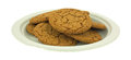 Molasses Cookies On Green Paper Plate Royalty Free Stock Photos - 54955408