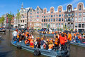 AMSTERDAM-APRIL 27: Crowd Of People  Participate In Celebrating King S Day On April 27,2015 The Netherlands. Stock Image - 54969621