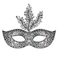 Vector Ornate Floral Venetian Carnival Mask With Feathers. Royalty Free Stock Photos - 54980698
