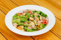 Salad With Cheese, Ham And Fresh Vegetables Stock Image - 54989111