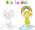 Girl Dancing With Rainbow Dot To Dot Stock Images - 54997714