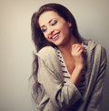 Relaxing Happy Young Casual Woman Posing. Closeup Vintage Portra Stock Photos - 54997753
