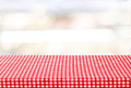 Empty Table With Tablecloth Over Blur Bokeh Background Stock Images - 55005134
