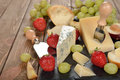 Cheese, Grapes And Fruit Royalty Free Stock Image - 55010296