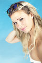 Beautiful Blonde Hair Girl Sitting Near The Pool In Swimsuit. Summer Concept Royalty Free Stock Photo - 55022105