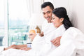 Couple Lounging In Bed At Morning Stock Photos - 55032563