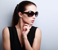 Fashionable Beautiful Young Female Model Profile In Sun Glasses Stock Photography - 55038652