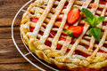 Berry Pie. Strawberry Tart On Rustic Wooden Table Stock Images - 55041714