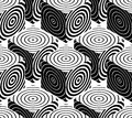 Contrast Black And White Symmetric Seamless Pattern With Interwe Stock Photos - 55044183