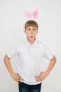Boy With Rabbit Ears Makes Surprised Faces Stock Photo - 55044960