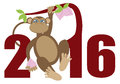 2016 Year Of The Monkey On Tree Numerals Illustration Royalty Free Stock Images - 55048029