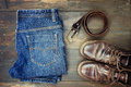 Jeans Belt And Shoes Set On Wood Royalty Free Stock Photography - 55048647