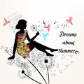 Illustration With Girl In A Floral Dress Sit In Environment Of D Stock Image - 55049341