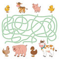 Maze Game (farm Animals - Cow, Pig, Chicken, Duck) Stock Images - 55061864