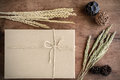Brown Paper Box On Old Wood Background With Dried Flower Stock Image - 55062091