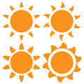 Set Of Vector Orange Sun Royalty Free Stock Photography - 55073737