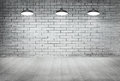 Room White Brick Grunge Wall And Wood Floor With Ceiling Lamp Stock Photo - 55073770