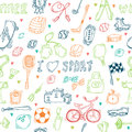 Seamless Pattern With Hand Drawn Sport Equipment. I Love Sport Stock Image - 55081141