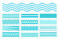 Collection Of Marine Waves. Sea Wavy, Ocean Art Water Design. Royalty Free Stock Images - 55092619