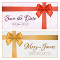 Voucher Template With Floral Pattern, Border, Red And Gold Bow A Royalty Free Stock Photos - 55092668