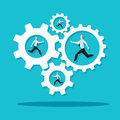 Businessman Is Running In The Cogwheel Machine. Company Concept. Royalty Free Stock Image - 55098166
