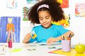 African Girl Match Cards During Developmental Game Stock Images - 55098904