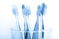 Tooth Brush In Glass Isolated On White Background Stock Image - 55099591