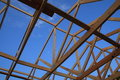 Unique View - Wood Trusses Royalty Free Stock Image - 5513166