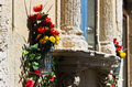 Flowers And Stone,detail From Street Of Ortigia, City Of Syracuse, Sicily Royalty Free Stock Image - 55104106