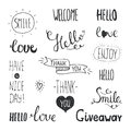 Vector Photo Overlays, Hand Drawn Lettering Stock Photography - 55104842