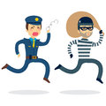 Police Chasing Thief Royalty Free Stock Photo - 55114265