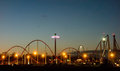 Sunset Over An Amusement Park In A Distance Royalty Free Stock Images - 55115169