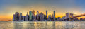 Panorama View Of New York City Downtown Skyline And Brooklyn Bri Royalty Free Stock Images - 55116079