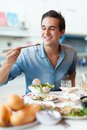 Tourist Man Eating Asian Food Street Local Cafe Royalty Free Stock Image - 55123286