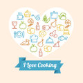 Vector Cooking Outline Icon Set Stock Photo - 55125520